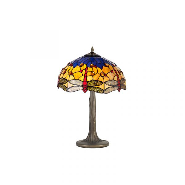 Lichfield Lighting Havefield 2 Light Tree Like Table Lamp E27 With 40cm Tiffany Shade, Blue/Orange/Crystal/Aged Antique Brass photo 1