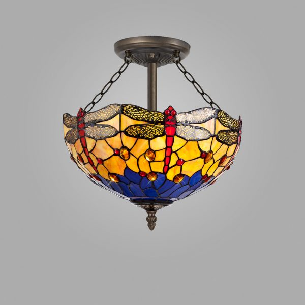 Lichfield Lighting Havefield 3 Light Semi Ceiling E27 With 40cm Tiffany Shade, Blue/Orange/Crystal/Aged Antique Brass photo 2