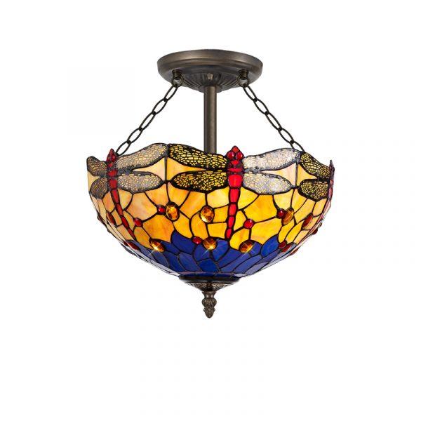 Lichfield Lighting Havefield 3 Light Semi Ceiling E27 With 40cm Tiffany Shade, Blue/Orange/Crystal/Aged Antique Brass photo 1