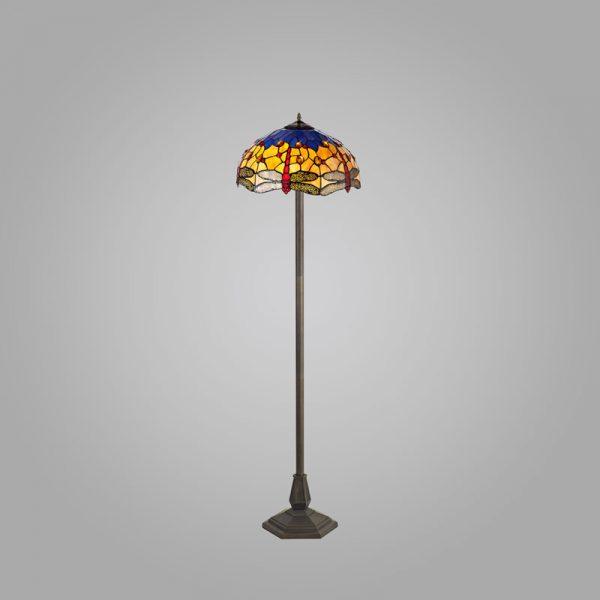 Lichfield Lighting Havefield 2 Light Octagonal Floor Lamp E27 With 40cm Tiffany Shade, Blue/Orange/Crystal/Aged Antique Brass photo 2