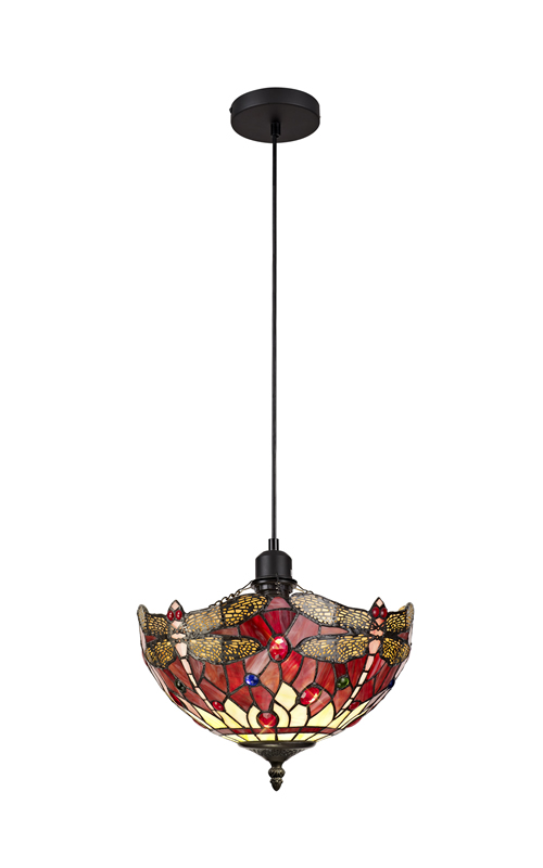 Lichfield Lighting Havefield 1 Light Uplighter Pendant E27 With 30cm Tiffany Shade, Purple/Pink/Crystal/Black photo 1