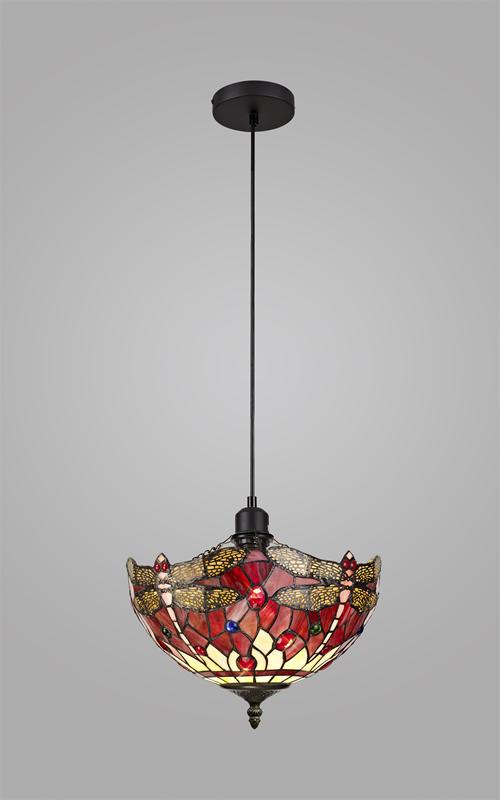Lichfield Lighting Havefield 1 Light Uplighter Pendant E27 With 30cm Tiffany Shade, Purple/Pink/Crystal/Black photo 2
