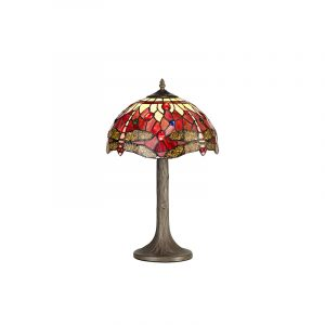 Lichfield Lighting Havefield 1 Light Tree Like Table Lamp E27 With 30cm Tiffany Shade, Purple/Pink/Crystal/Aged Antique Brass photo 1