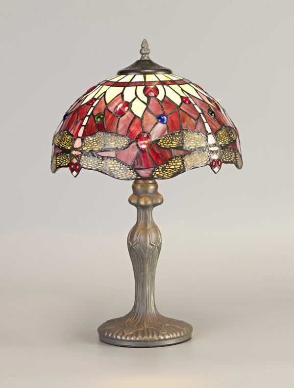 Lichfield Lighting Havefield 1 Light Curved Table Lamp E27 With 30cm Tiffany Shade, Purple/Pink/Crystal/Aged Antique Brass photo 2