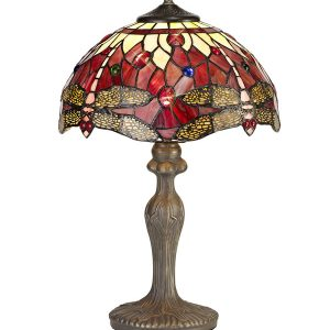 Lichfield Lighting Havefield 1 Light Curved Table Lamp E27 With 30cm Tiffany Shade, Purple/Pink/Crystal/Aged Antique Brass photo 1