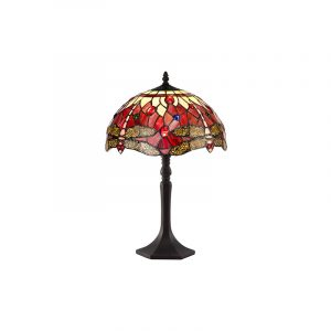 Lichfield Lighting Havefield 1 Light Octagonal Table Lamp E27 With 30cm Tiffany Shade, Purple/Pink/Crystal/Aged Antique Brass photo 1