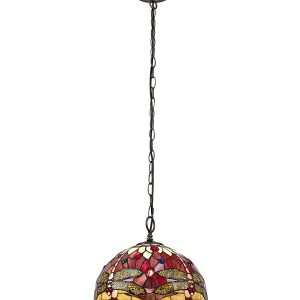 Lichfield Lighting Havefield 1 Light Downlighter Pendant E27 With 30cm Tiffany Shade, Purple/Pink/Crystal/Aged Antique Brass photo 1
