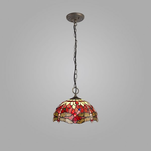 Lichfield Lighting Havefield 3 Light Downlighter Pendant E27 With 30cm Tiffany Shade, Purple/Pink/Crystal/Aged Antique Brass photo 2