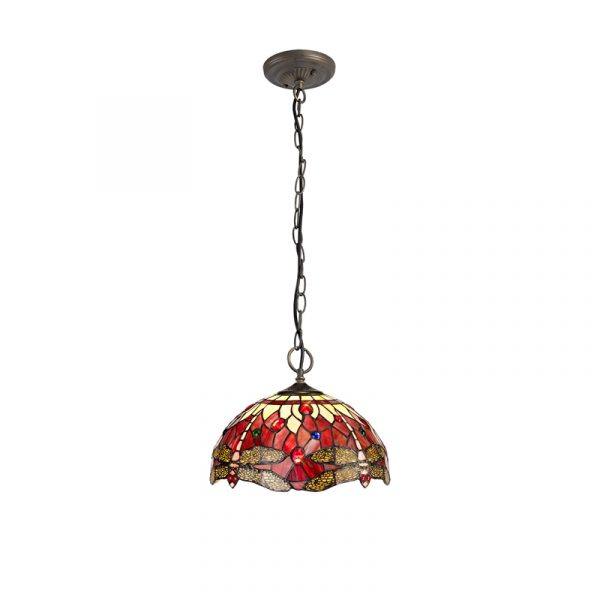 Lichfield Lighting Havefield 3 Light Downlighter Pendant E27 With 30cm Tiffany Shade, Purple/Pink/Crystal/Aged Antique Brass photo 1