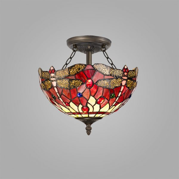 Lichfield Lighting Havefield 2 Light Semi Ceiling E27 With 30cm Tiffany Shade, Purple/Pink/Crystal/Aged Antique Brass photo 2