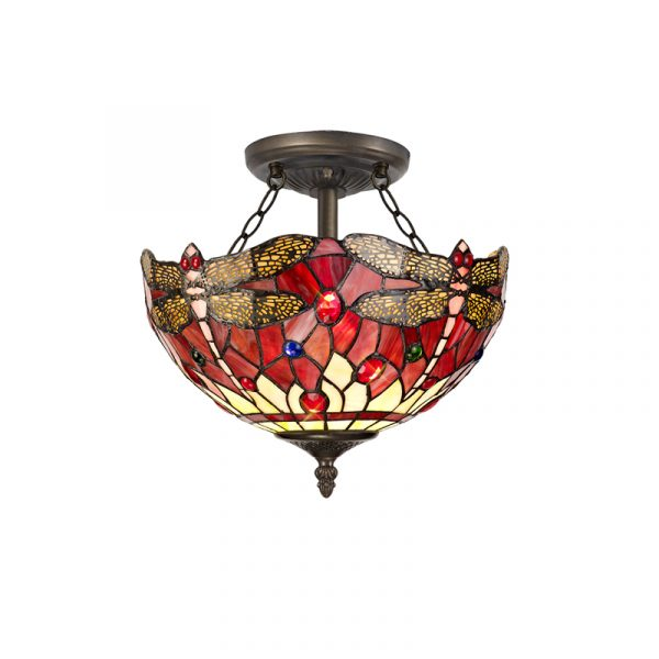 Lichfield Lighting Havefield 2 Light Semi Ceiling E27 With 30cm Tiffany Shade, Purple/Pink/Crystal/Aged Antique Brass photo 1