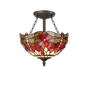 Lichfield Lighting Havefield 3 Light Semi Ceiling E27 With 30cm Tiffany Shade, Purple/Pink/Crystal/Aged Antique Brass photo 1