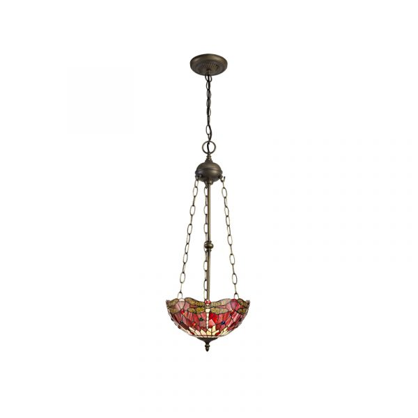Lichfield Lighting Havefield 3 Light Uplighter Pendant E27 With 30cm Tiffany Shade, Purple/Pink/Crystal/Aged Antique Brass photo 1
