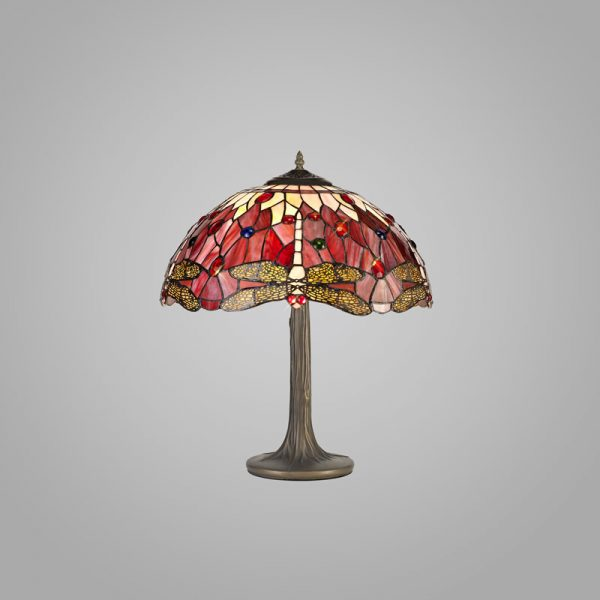 Lichfield Lighting Havefield 2 Light Tree Like Table Lamp E27 With 40cm Tiffany Shade, Purple/Pink/Crystal/Aged Antique Brass photo 2