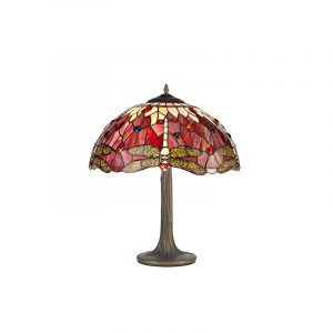 Lichfield Lighting Havefield 2 Light Tree Like Table Lamp E27 With 40cm Tiffany Shade, Purple/Pink/Crystal/Aged Antique Brass photo 1
