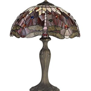 Lichfield Lighting Havefield 2 Light Curved Table Lamp E27 With 40cm Tiffany Shade, Purple/Pink/Crystal/Aged Antique Brass photo 1