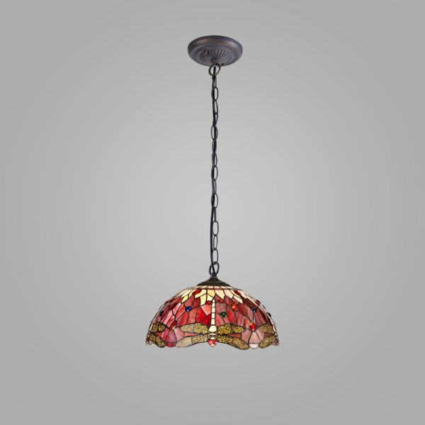Lichfield Lighting Havefield 1 Light Downlighter Pendant E27 With 40cm Tiffany Shade, Purple/Pink/Crystal/Aged Antique Brass photo 2