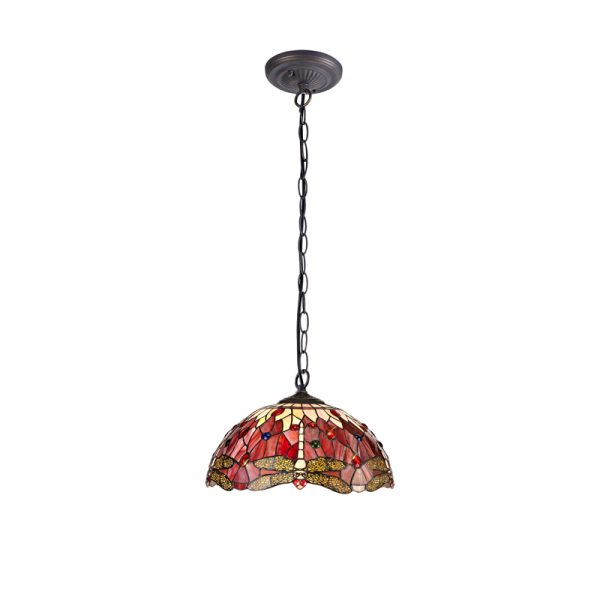 Lichfield Lighting Havefield 1 Light Downlighter Pendant E27 With 40cm Tiffany Shade, Purple/Pink/Crystal/Aged Antique Brass photo 1