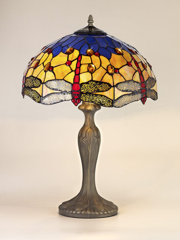 Lichfield Lighting Havefield 2 Light Curved Table Lamp E27 With 40cm Tiffany Shade, Blue/Orange/Crystal/Aged Antique Brass photo 2