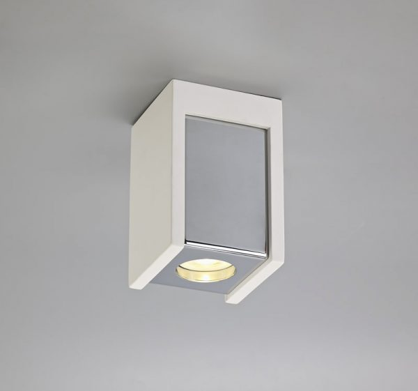 Lichfield Lighting Irving 1 Light Square Ceiling GU10, White Paintable Gypsum With Polished Chrome Cover photo 3