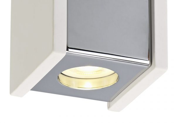 Lichfield Lighting Irving 1 Light Square Ceiling GU10, White Paintable Gypsum With Polished Chrome Cover photo 2