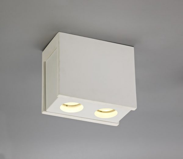 Lichfield Lighting Irving 2 Light Rectangular Ceiling GU10, White Paintable Gypsum With Matt White Cover photo 3
