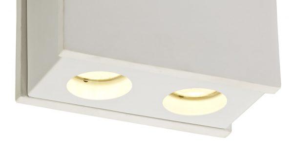 Lichfield Lighting Irving 2 Light Rectangular Ceiling GU10, White Paintable Gypsum With Matt White Cover photo 2