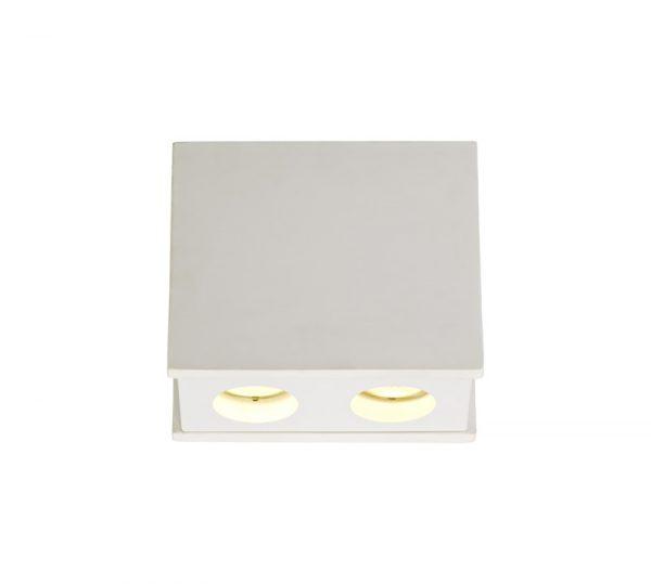 Lichfield Lighting Irving 2 Light Rectangular Ceiling GU10, White Paintable Gypsum With Matt White Cover photo 1