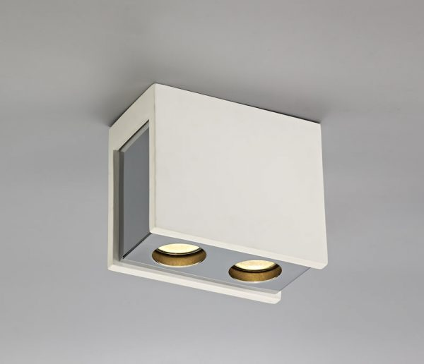 Lichfield Lighting Irving 2 Light Rectangular Ceiling GU10, White Paintable Gypsum With Polished Chrome Cover photo 3