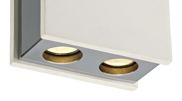 Lichfield Lighting Irving 2 Light Rectangular Ceiling GU10, White Paintable Gypsum With Polished Chrome Cover photo 2