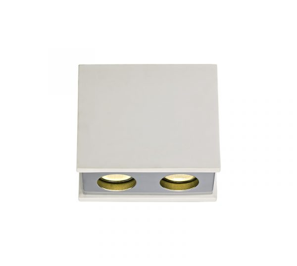 Lichfield Lighting Irving 2 Light Rectangular Ceiling GU10, White Paintable Gypsum With Polished Chrome Cover photo 1