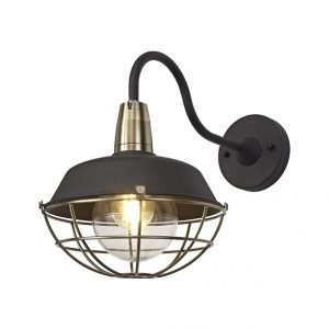 Lichfield Lighting Karple Wall Lamp, 1 Light E27, IP65, Matt Black/Antique Brass, 2yrs Warranty photo 1