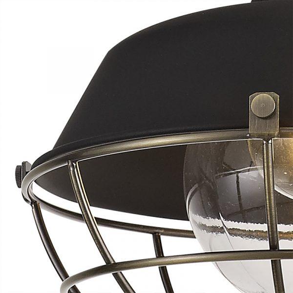 Lichfield Lighting Karple Pendant, 1 Light E27, IP65, Matt Black/Antique Brass, 2yrs Warranty photo 3