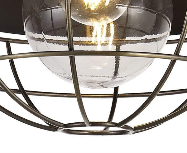 Lichfield Lighting Karple Pendant, 1 Light E27, IP65, Matt Black/Antique Brass, 2yrs Warranty photo 2