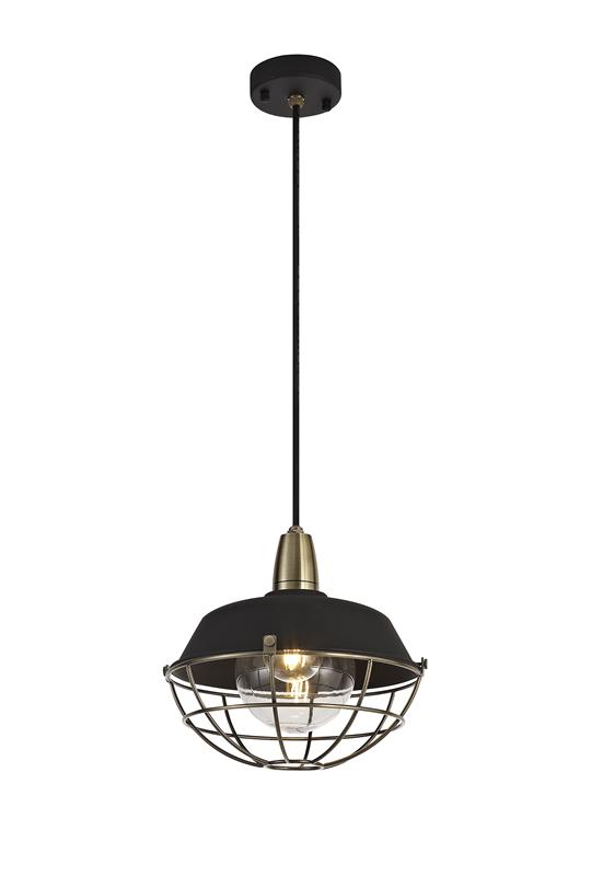 Lichfield Lighting Karple Pendant, 1 Light E27, IP65, Matt Black/Antique Brass, 2yrs Warranty photo 1