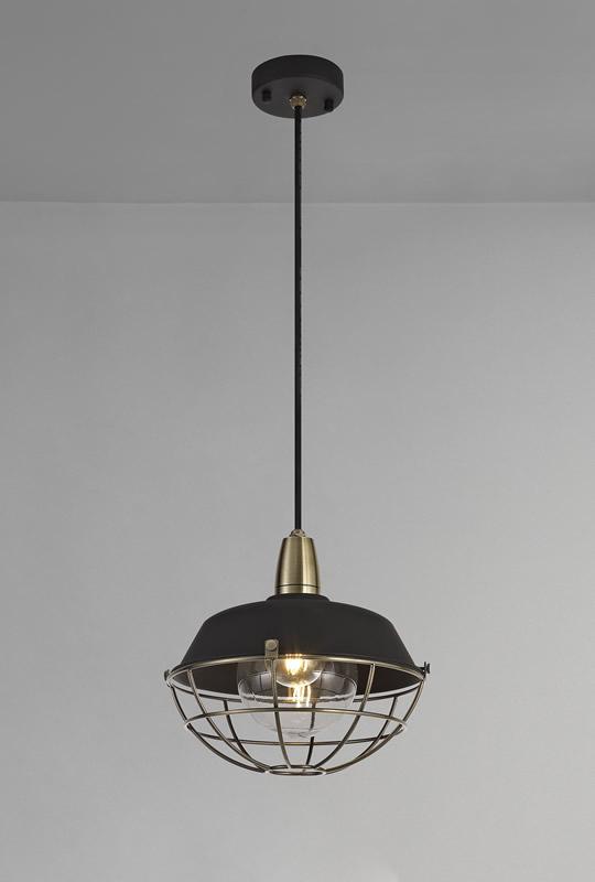 Lichfield Lighting Karple Pendant, 1 Light E27, IP65, Matt Black/Antique Brass, 2yrs Warranty photo 4