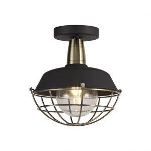 Lichfield Lighting Karple Semi-Flush Ceiling, 1 Light E27, IP65, Matt Black/Antique Brass, 2yrs Warranty photo 1