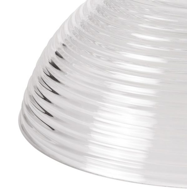 Lichfield Lighting Lime Round 33.5cm Prismatic Effect Clear Glass Lampshade photto 2