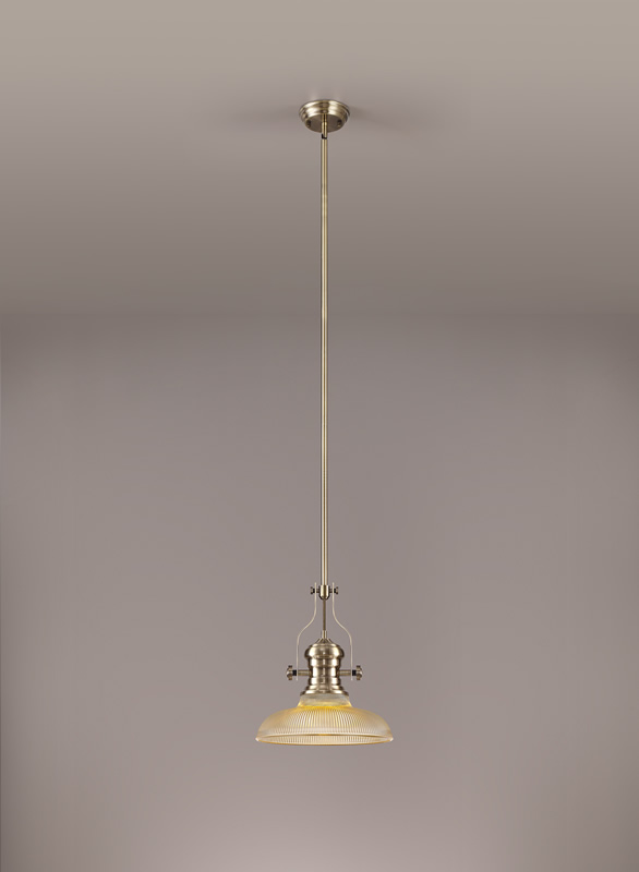 Lichfield Lighting Lime 1 Light Pendant E27 With 30cm Round Glass Shade, Antique Brass/Amber photo 2