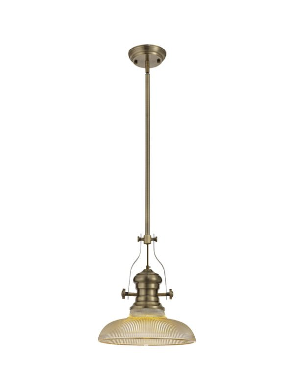 Lichfield Lighting Lime 1 Light Pendant E27 With 30cm Round Glass Shade, Antique Brass/Amber photo 1