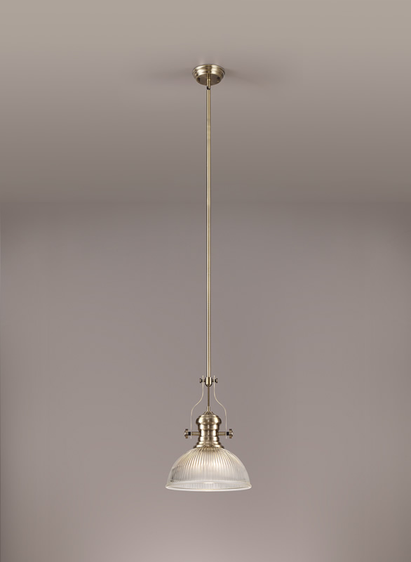 Lichfield Lighting Lime 1 Light Pendant E27 With 30cm Dome Glass Shade, Antique Brass/Clear photo 2