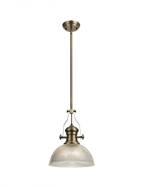 Lichfield Lighting Lime 1 Light Pendant E27 With 30cm Dome Glass Shade, Antique Brass/Clear photo 1