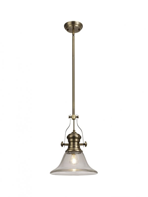 Lichfield Lighting Lime 1 Light Pendant E27 With 30cm Smooth Bell Glass Shade, Antique Brass/Clear photo 1