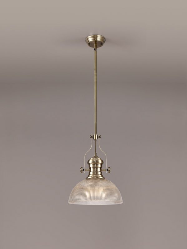 Lichfield Lighting Lime 1 Light Pendant E27 With 30cm Prismatic Glass Shade, Antique Brass/Clear photo 2