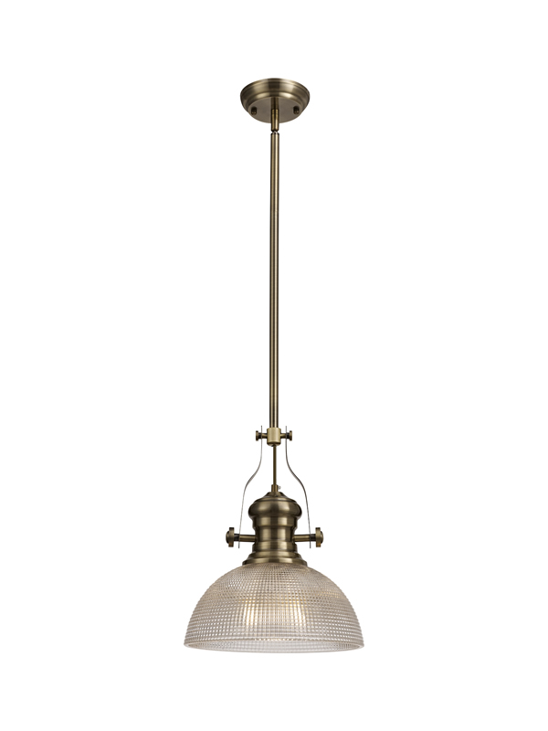 Lichfield Lighting Lime 1 Light Pendant E27 With 30cm Prismatic Glass Shade, Antique Brass/Clear photo 1