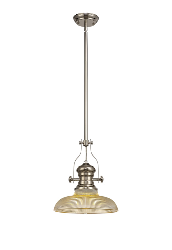 Lichfield Lighting Lime 1 Light Pendant E27 With 30cm Round Glass Shade, Polished Nickel/Amber photo 1