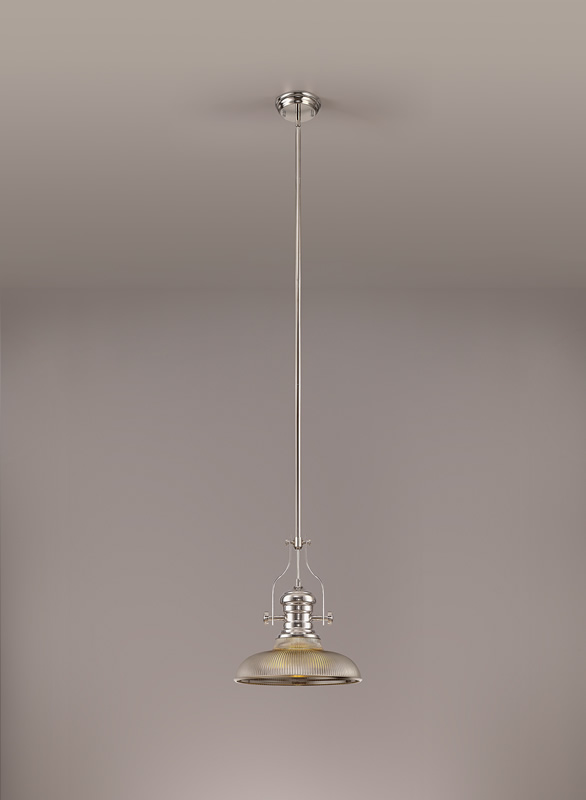 Lichfield Lighting Lime 1 Light Pendant E27 With 30cm Round Glass Shade, Polished Nickel/Smoked photo 2