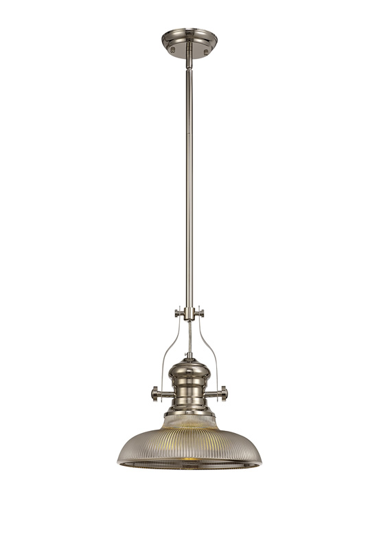 Lichfield Lighting Lime 1 Light Pendant E27 With 30cm Round Glass Shade, Polished Nickel/Smoked photo 1