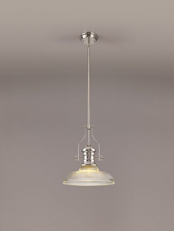 Lichfield Lighting Lime 1 Light Pendant E27 With 30cm Round Glass Shade, Polished Nickel/Clear photo 2
