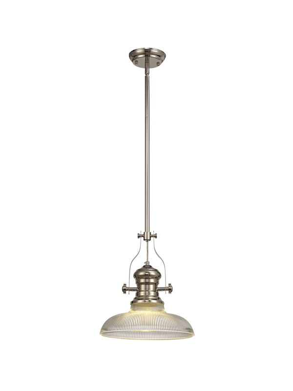 Lichfield Lighting Lime 1 Light Pendant E27 With 30cm Round Glass Shade, Polished Nickel/Clear photo 1